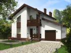 Проект индивидуального одноэтажного жилого дома с мансардой, гаражом, террасой и балконом